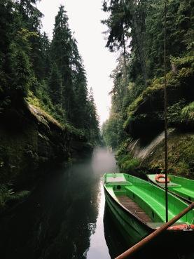 Foggy river in Bohemian Switzerland